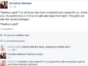 Sobrinha de Marcia Mikhael agradece pessoas que oraram pela goiana feita refém em Sydney (Foto: Reprodução/Facebook)