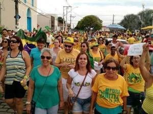 Protesto em Linhares (Foto: Kaio Henrique/ TV Gazeta)