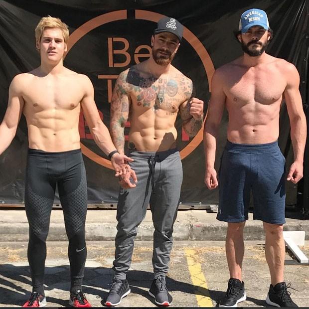 Nicolas Prattes, Felipe Tito e Kiko Pissolato: saúde e boa forma (Foto: Reprodução Instagram)