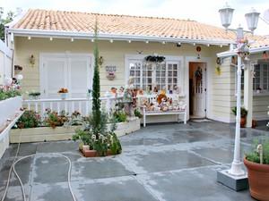 Fachada da casa lembra arquitetura colonial americana (Foto: Gabriela Pavão/ G1 MS)