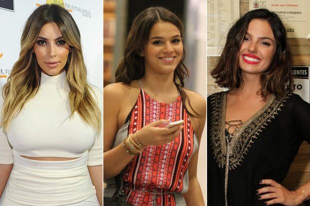 Kim Kardashian, Bruna Marquezine e Isis Valverde (Foto: Getty Images   AgNews)
