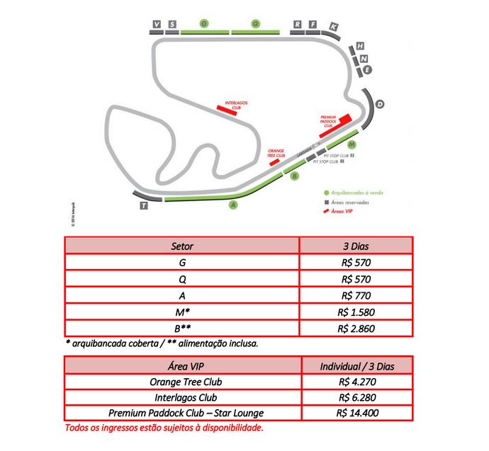Ingressos para o GP do Brasil de Fórmula 1 (Foto: Reprodução)