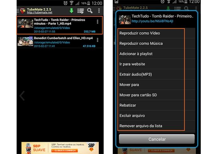 Menu de opções dos vídeos salvos no Tubemate (Foto: Reprodução/Barbara Mannara)