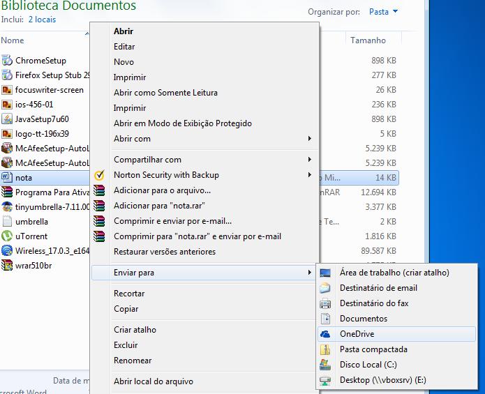 Envie arquivos ao OneDrive direto do menu de contexto do Windows (Foto: Reprodução/Edivaldo Brito)
