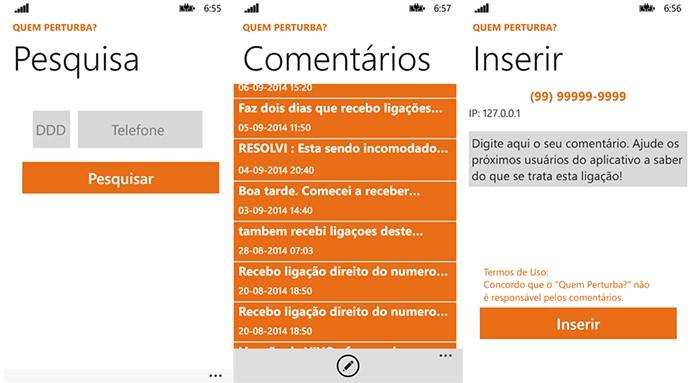 Quem Perturba promete ajudar usuários que recebem ligações indesejadas a identificar números (Foto: Divulgação/Windows Phone Store)