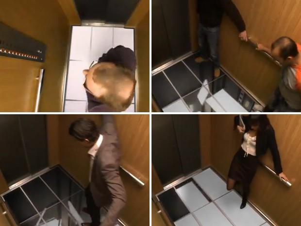Piso do elevador 'cai' e assusta os passageiros; truque serve para mostrar alta definição das TVs da marca (Foto: Reprodução)