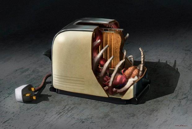 Entre os aparelhos modernos, uma torradeira aparece 'dissecada' (Foto: Reprodução)