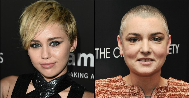 """Após a veterana cantora irlandesa Sinéad O'Connor aconselhar publicamente Miley Cyrus a não se """"prostituir"""" para a mídia, a jovem retrucou ofendendo duas pessoas ao mesmo tempo: ligou o passado turbulento de Sinéad ao presente superturbulento da atriz Amanda Bynes. Tenso. (Foto: Getty Images)"""