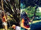 Ao lado do pai, Lívian Aragão colhe jabuticas no quintal