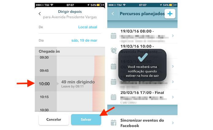 Finalizando a configuração de um percurso planejado no Waze para iPhone (Foto: Reprodução/Marvin Costa)
