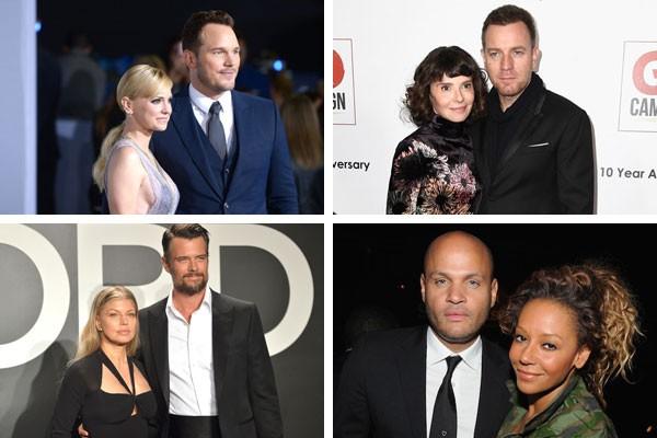 Chris Pratt e Anna Faris, Eve Mavrakis e Ewan McGregor, Fergie e Josh Duhamel e Mel B e Stephen Belafonte são alguns dos casais que terminaram em 2017 (Foto: Getty Images)