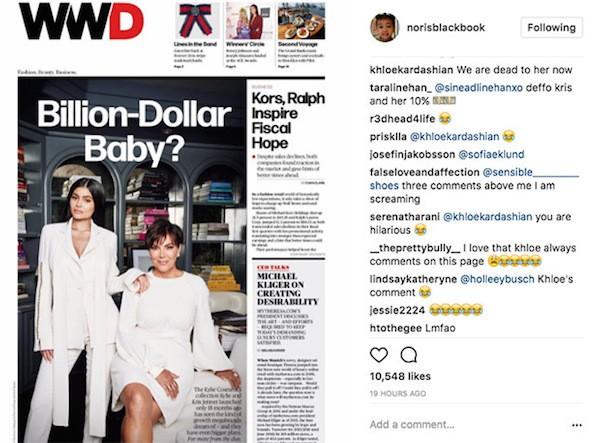 O comentário de Khloé Kardashian fazendo piada com a preferência de sua mãe por Kylie Jenner (Foto: Instagram)