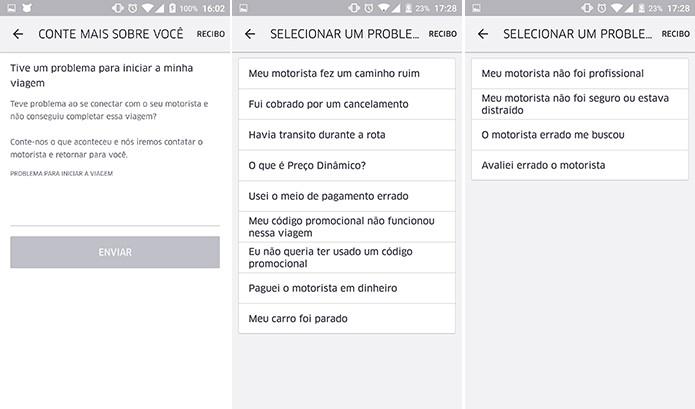 Uber poderá fazer perguntas sobre o problema e pedir detalhes do ocorrido ao usuário (Foto: Reprodução/Elson de Souza)