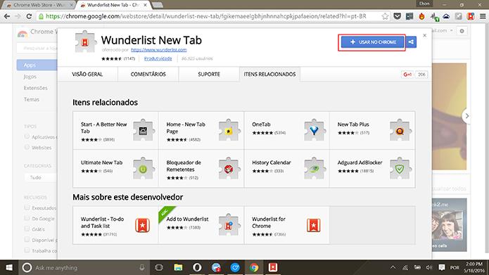Wunderlist New Tab substitui as novas abas do Chrome por tarefas do Wunderlist (Foto: Reprodução/Elson de Souza)
