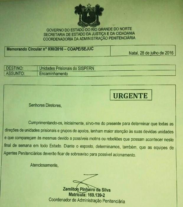 Coape chama a atenção de diretores de unidades prisionais quanto à possibilidade de motins e rebeliões neste final de semana no Rio Grande do Norte (Foto: Reprodução)