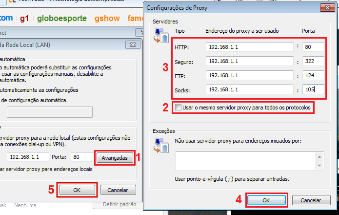 Como alterar manualmente configura es de proxy do for Proxe vigila 3 manuale