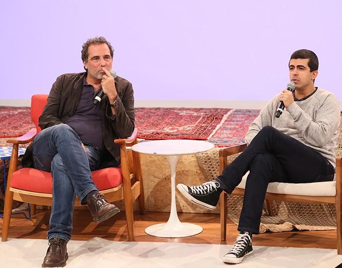 Marcius Melhem e o diretor Maurício Farias no 'Globo Lab' (Foto: Gianne Carvalho/TV Globo)