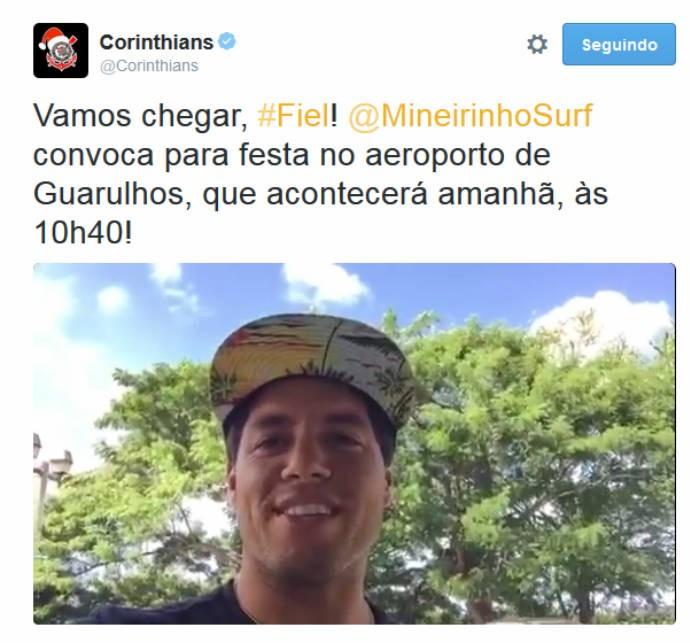 Mineirinho convoca fãs em vídeo na página do Corinthians (Foto: Reprodução/Twitter)