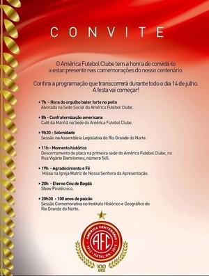 Convite América-RN centenário (Foto: Divulgação)