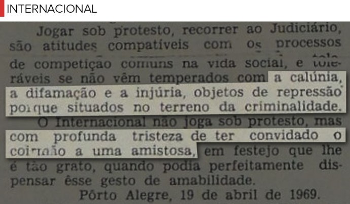 Trechos Jornal Internacional - Grenal (Foto: Editoria de Arte)