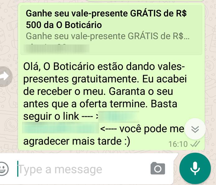 Golpe no WhatsApp usa falsa campanha do Boticário para enganar usuários (Foto: Reprodução/PSafe)