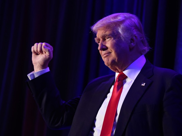 O presidente eleito Donald Trump após vitória (Foto: Saul Loeb/AFP)
