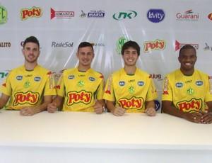 Paulinho, Marcel, Marcelo Augusto e Luiz Paulo, reforços do Mirassol que vieram do São Paulo (Foto: Vinicius de Paula/Agência Mirassol FC)