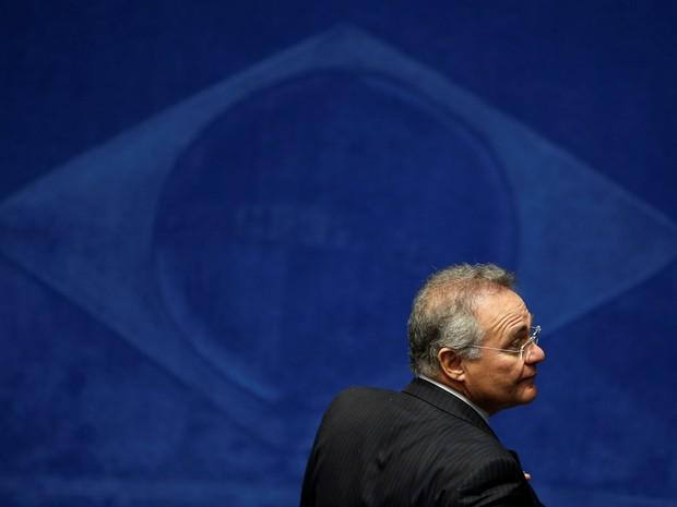 Renan Calheiros, presidente do Senado, durante o segundo dia da sessão do julgamento final da presidente afastada Dilma Rousseff no plenário do Senado, em Brasília (Foto: Ueslei Marcelino/Reuters)