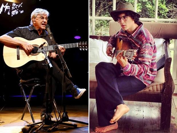 Caetano Veloso, à esquerda, e seu filho Tom Veloso, à direita. A banda Dônica, de Tom, vai tocar no Rock in Rio  (Foto: Reuters /Denis Balibouse e Reprodução / Facebook do Dônica)