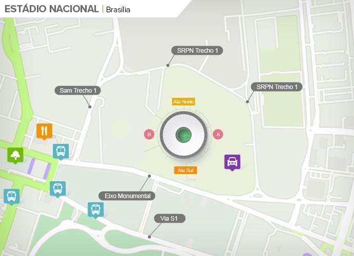 Mapa de acesso às ruas do Mané Garrincha (Foto: Google Maps / Infografia GloboEsporte.com)