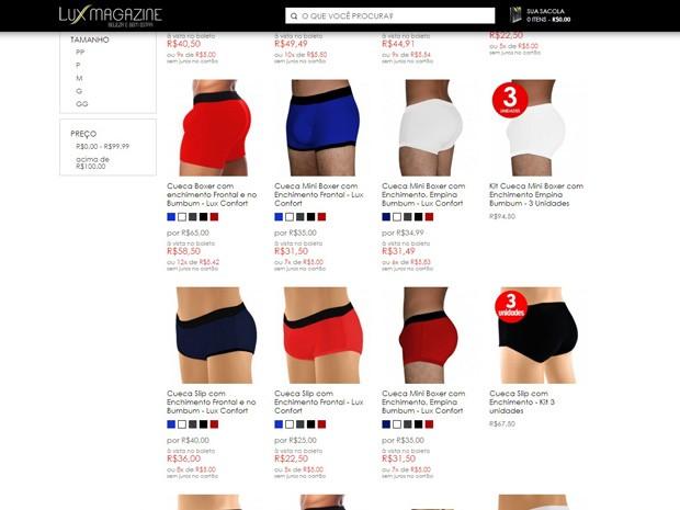 Cuecas e sungas com enchimento são o principal produto da loja (Foto: Reprodução)