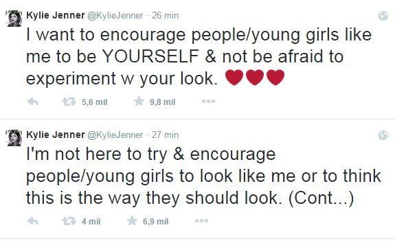 Kylie Jenner faz alerta após polêmica para aumentar volume dos lábios em rede social (Foto: Divulgação do Twitter)