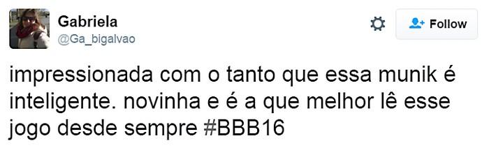 munik elogio - domingo dia13 twitter (Foto: TV Globo)