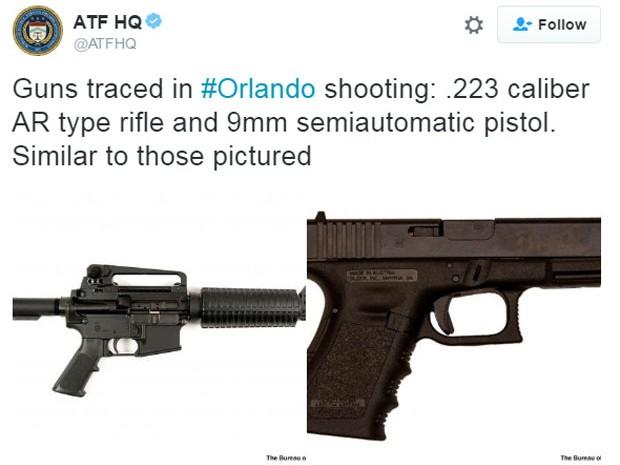 ATF divulgou que armas usadas no ataque são um rifle AR calibre .223 e uma pistola 9mm semiautomática (Foto: Reprodução/Twitter/ATFHQ)