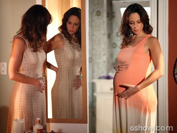Antes de a barriga crescer, Juliana já tentava ver o bebê crescendo (Foto: Camila Camacho/ TV Globo)
