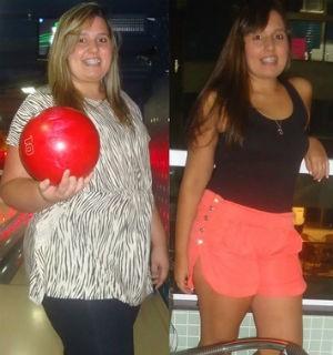 Nayane antes e depois de emagrecer (Foto: Arquivo pessoal)