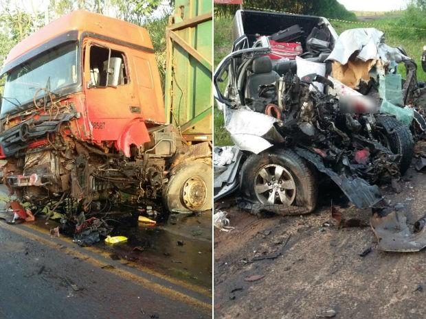 Veículos ficaram destruídos após a batida (Foto: Divulgação / PRE )