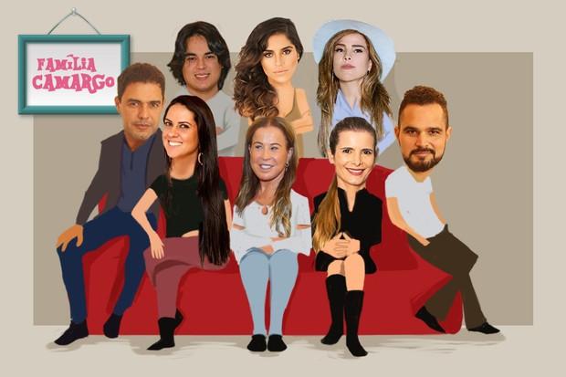 Arte família Camargo  (Foto: Ilustração: Enderson Santos / Ego)