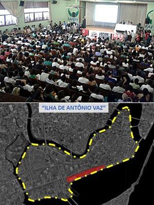 Auditório da Fafire sedia audiência pública sobre projeto Novo Recife / Parte de documento apresentado pela Prefeitura (Foto: Vitor Tavares / G1 e Divulgação/Prefeitura do Recife)