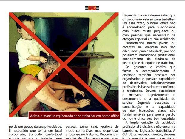 Revista eletrônica do Tribunal de Justiça de São Paulo faz recomendações sobre o que evitar ao optar pelo home office (Foto: Reprodução/Revista Eletrônica do Tribunal de Justiça do Estado de São Paulo - n. 1 - abril a junho/2014)