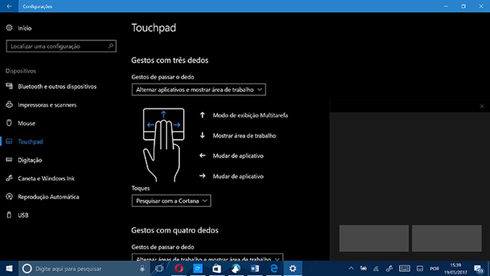 Usuário pode personalizar gestos com dois ou mais dedos no touchpad virtual (Foto: Reprodução/Elson de Souza)