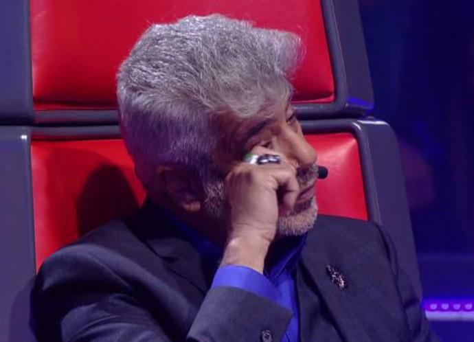 Gustavo Trebien e a dupla André e Kadu levaram Lulu às lágrimas com 'Apenas Mais Uma de Amor' (Foto: TV Globo)