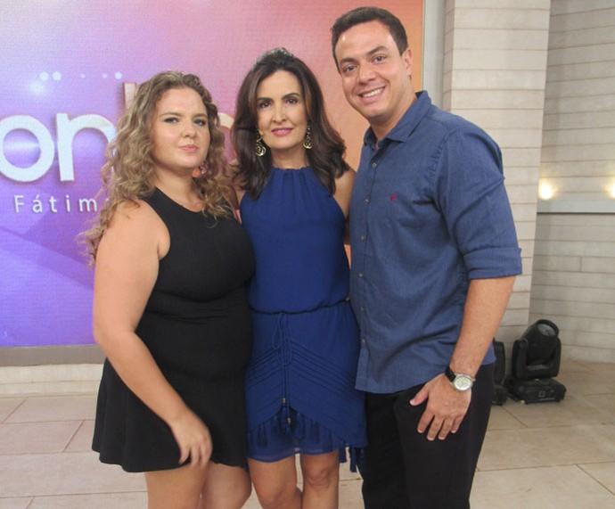 Convidados com a Fátima depois do programa  (Foto: Monique Arruda/Gshow)