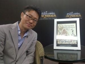 Yosuke Asama, produtor de 'Cavaleiros do Zodíaco: A Lenda do Santuário' veio ao Brasil para lançar o filme com desenho feito por Masami Kurumada ao público brasileiro (Foto: Gustavo Petró/G1)