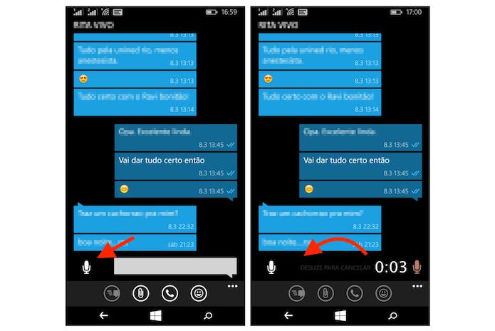 Cancelando uma gravação de voz do WhatsApp no Windows Phone (Foto: Reprodução/Marvin Costa)