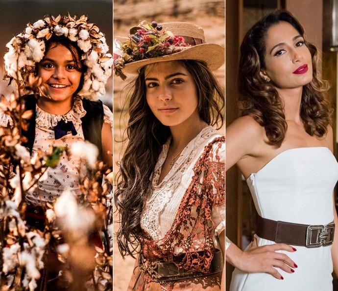 Isabella Aguiar, Julia Dalavia e Camila Pitanga dividem a protagonista Maria Tereza; a única ainda descaracterizada é Camila que, na foto, estava no ar em 'Babilônia' (Foto: Caiuá Franco e Tata Barreto/ Globo)