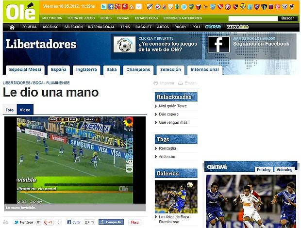 Site Olé mão jogo Boca Juniors x Fluminense (Foto: Reprodução)