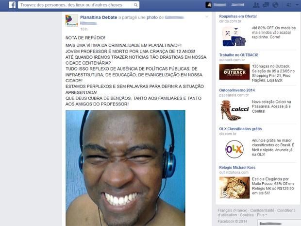Página em rede social traz nota de repúdio sobre morte de professor por criança no DF (Foto: Facebook/Reprodução)