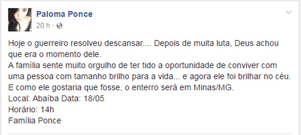 Paloma Ponce desabafou no Facebook sobre a morte do pai (Foto: Reprodução/Redes Sociais)