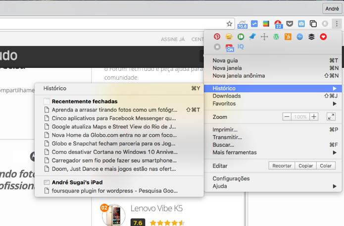 Histórico de navegação do Google Chrome (Foto: Reprodução/André Sugai)